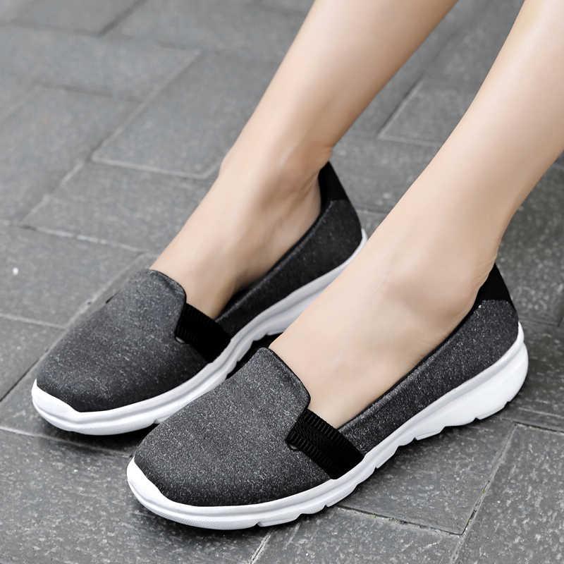 女性スニーカー女性ニット加硫靴カジュアル女性にスリップフラット靴メッシュトレーナーソフトウォーキング靴 Zapatos Mujer