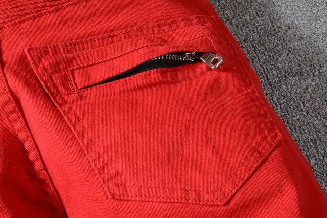 High Street Fashion Men Jeans Red Color Spliced Designer Punk Style Denim Cargo Pants Hombre Big Size 29-40 Biker Jeans Men