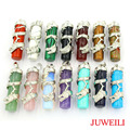 JUWEILI Jewelry Mixed 15pcs Silver Plated Natural Stone Cylindrical Dragon Reiki Pendant Charms Boss Men Lucky Amulet