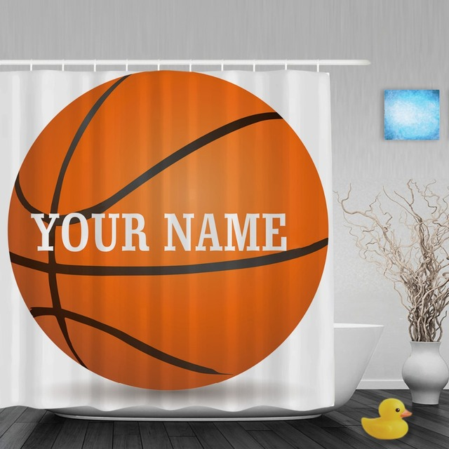 Personalized Basketball Shower Curtain Custom Your Name Sports Bathroom Curtains Polyester Fabric With Hooks
