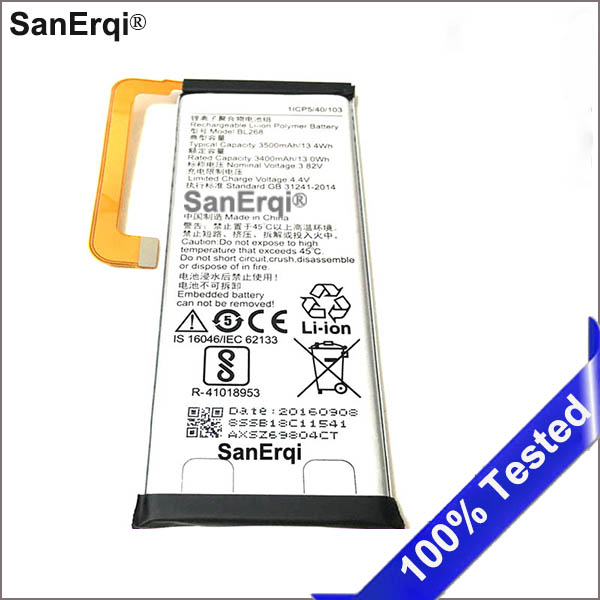 3400mAh BL268 Battery For Lenovo ZUK Z2 Cell Phone Batteries Accumulator AKKU image
