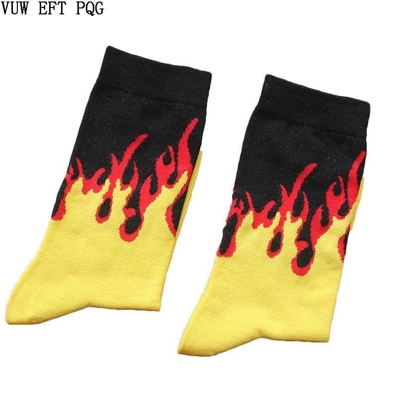 Men Fashion Hip Hop Hit Color On Fire Crew Socks Red Flame Blaze Power Torch Hot Warmth Street Skateboard Cotton  Socks