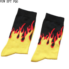 Men Fashion Hip Hop Hit Color On Fire Crew Socks Red Flame Blaze Power Torch Hot