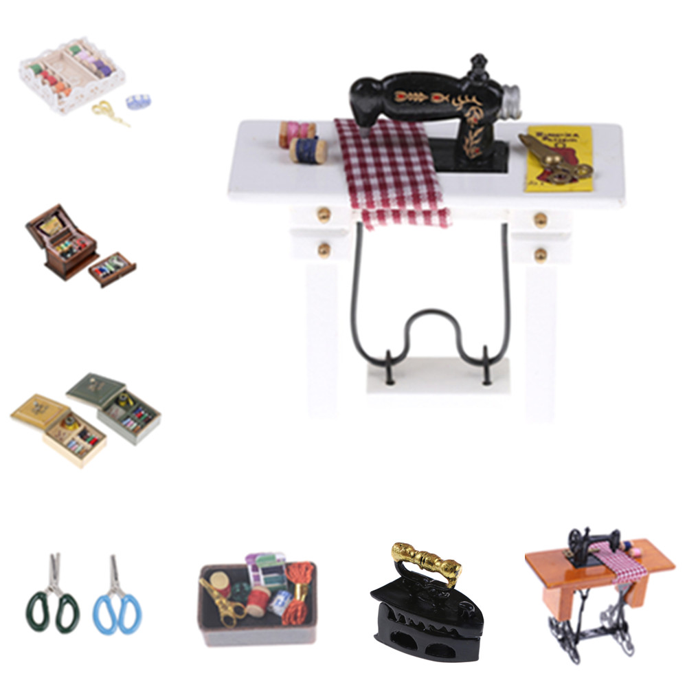 New 1:12 Dollhouse Miniature Sewing Room Furniture Sewing Machine Ironing Board Iron Dolls Accessories Toy