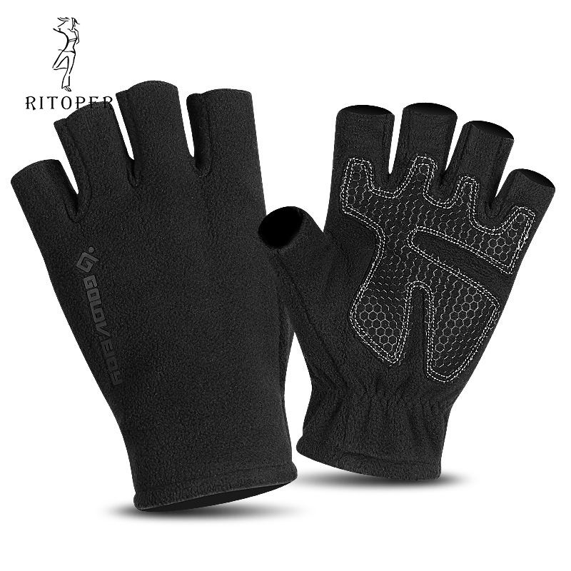RITOPER Fleece Half Finger Gloves Men Women Winter Non-Slip Leaky Fingerless Gloves Outdoors Mountaineering Sports Writing Glove