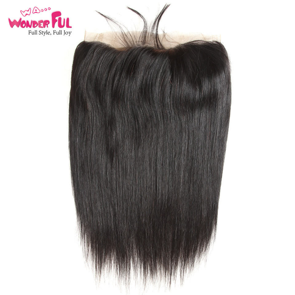 WA Wonderful Brazilian Straight Hair 360 Lace Frontal Closure with Baby Hair Free Part 100 Remy