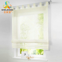 Embroidered Sheer Roman Curtain Window Panel Drape Voile Screening Tab Top With Plastic Tubes For Kitchen
