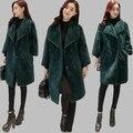 TNLNZHYN 2017 Женщин Зимняя Куртка Корейский Свободные Большой размер Повседневная Шуба Средней длины Тонкий Слой Толщиной Меховой Моды куртка AB642
