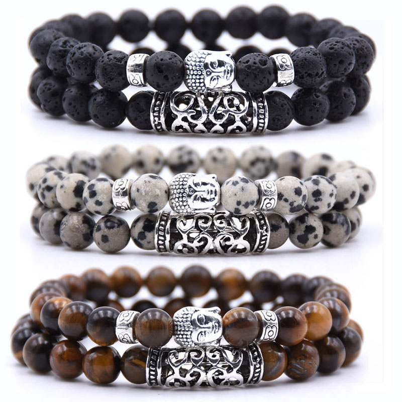 2pcs set Black Lava Stone Prayer Beads Buddha Men Bead Bracelet Beaded Bracelets