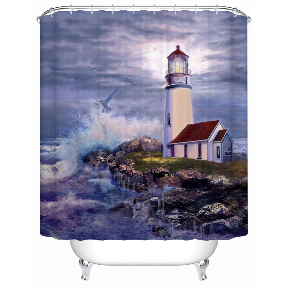 Lighthouse Guides Vessels Waterproof Shower Curtain Bathroom Curtain Eco  Friendly Practical Furniture Bath Screen Y 188 In Shower Curtains From Home  ...