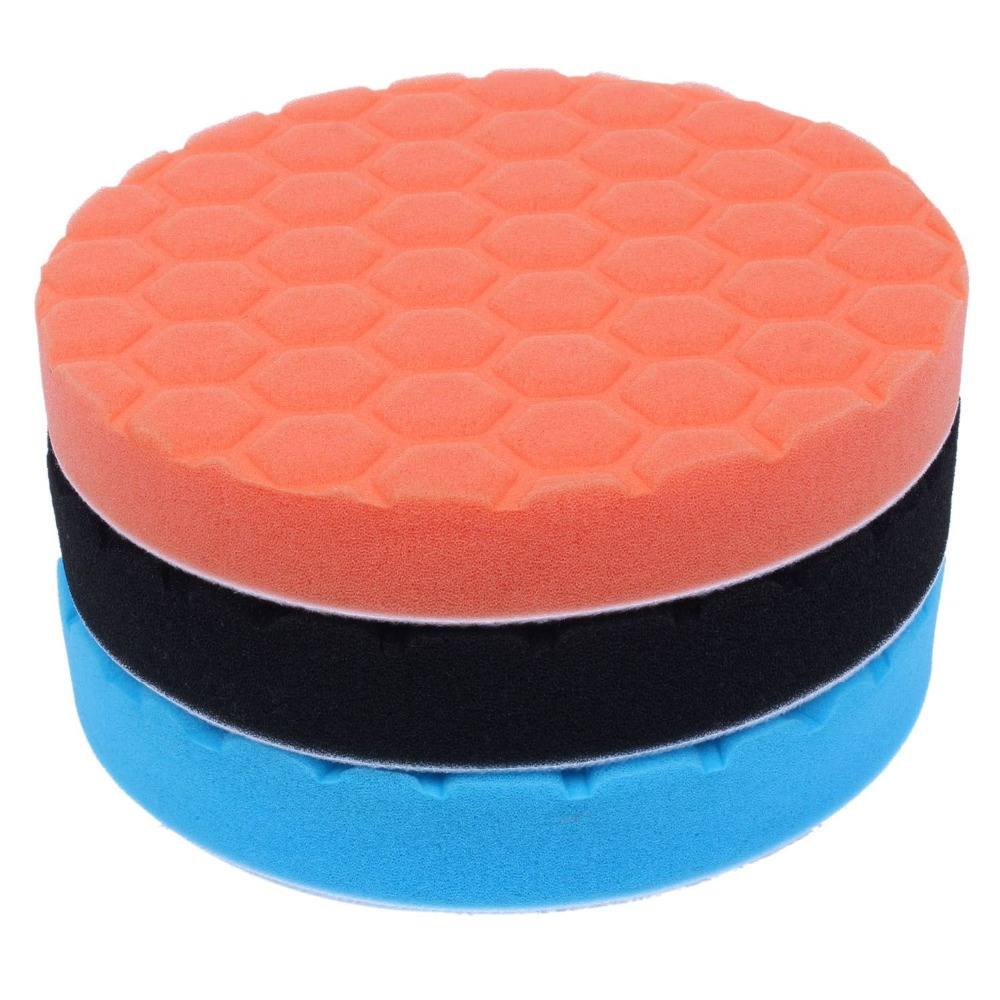 3x Hex-Logic Buff Buffering Polishing Pad kit For Auto Car Polisher 3/4/5/6/7 inch