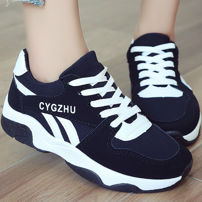 Female shoes sneakers women casual shoes cheap flock mesh fashion lace up ladies shoes sneaker 2018 Spring/Autumn