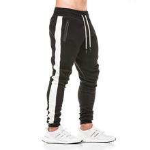 2019 NEW Fashion GYM fitness Jogger Pants Men Pocket Sweatpants Men Elastic Waist band Black Casual Pants Thread zip feet mouth