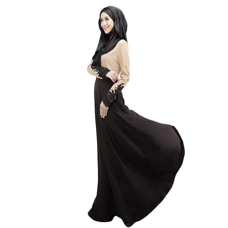 2018 vestido musulmán mujeres gasa dubai abaya tela vestidos turcos - Ropa nacional