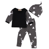 Cute Infant Baby Girl Boy Clothes Deer Tops T Shirt Pants Leggings Hat 3pcs Outfits Kids