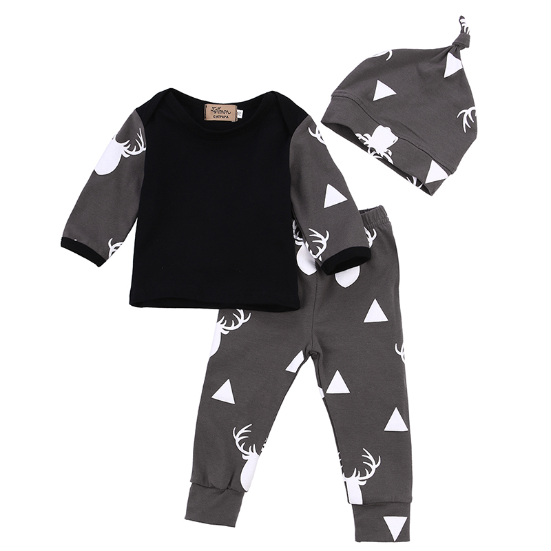 Cute Infant Baby Girl Boy Clothes Deer Tops T-shirt+Pants Leggings Hat 3pcs Outfits Kids Clothing Set 0-24M 0 24m newborn infant baby boy girl clothes set romper bodysuit tops rainbow long pants hat 3pcs toddler winter fall outfits
