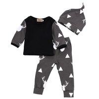 Cute Infant Baby Girl Boy Clothes Deer Tops T Shirt Pants Leggings Hat 3pcs Outfits Kids