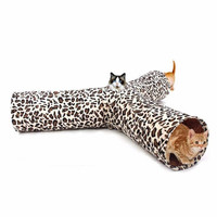 Cat Tunnel Leopard Print Crinkly 3 Ways Pet Tunnel Kitten Play Toy Collapsible Rabbit Toys Cat Toy Products For Fun