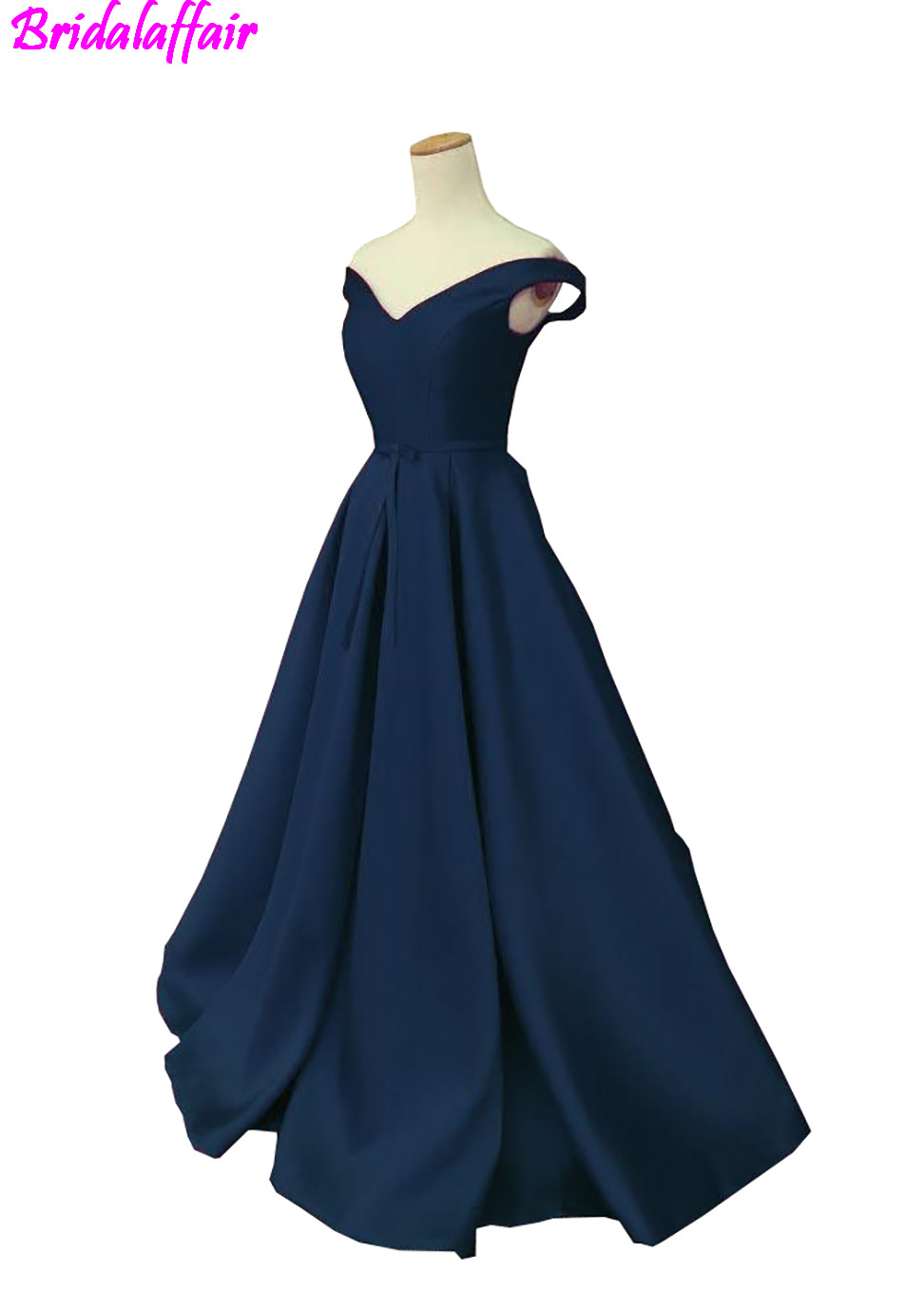 2018 Navy Blue Off Shoulder Prom Dresses V Neck Ruched Satin Floor Length Corset Lace Up Backless Long Homecoming Party Dresses in Homecoming Dresses from Weddings Events