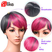 Synthetic Short Blonde Bob Wigs Green Straight Short Bob Wigs for Black Women Cute Synthetic Hair Pink Black Cosplay Wigs