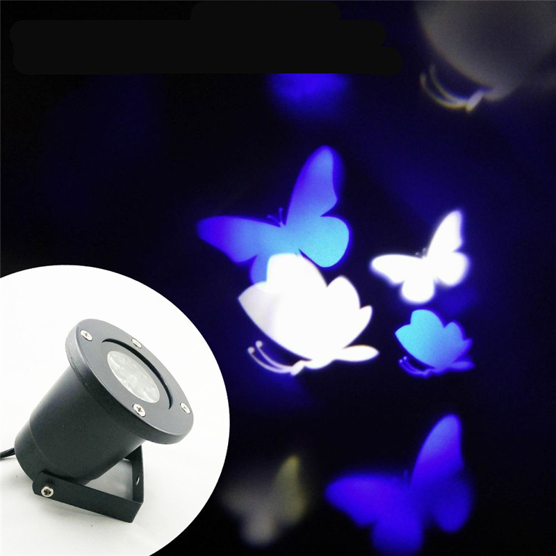 Rotating Blue White Butterfly Spotlight LED Landscape Projector Lamp Wedding Valentine Xmas Projector Night Lamp Outdoor Garden