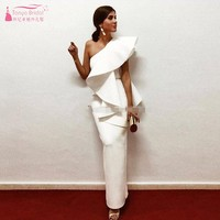 257c9cf1588e1 Elegant White Evening Dresses One Shoulder Ruffle Satin Sheath Ankle Length  Saudi Arabic Prom Dresses Evening. US $135.00 US $114.75. Zarif Beyaz Abiye  Bir ...