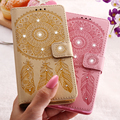 Campanula Printing Phone Case For HUAWEI P9 Lite Leather Wallet Luxury  Bling Glitter Diamond Flora Cover for Huawei P9 Lite New