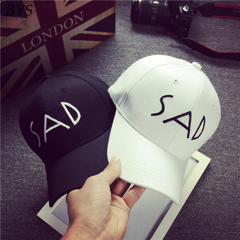 6ab3f353499 Cotton Adjustable Fashion Hats Sunscreen Baseball Cap SAD Letter embroidery  Unisex Sport Visor New Snapback Hat Summer Caps-in Baseball Caps from  Apparel ...