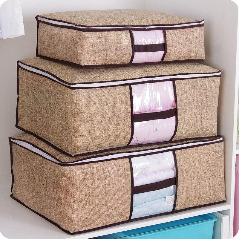 Non-Woven Family Save Space Organizador Bed Under Closet Storage Box Clothes Divider Organiser Quilt Bag Holder Organizer 64505