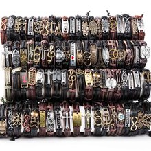 HOQIAGA 100pcs leather bracelets men women Genuine vintage punk rock retro couple handmade cuff wristband  wholesale lots bulk