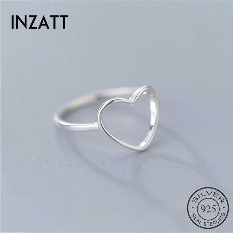 Inzvolo anel genuíno 925 prata, anel de prata esterlina minimalista para mulheres casamento oco coração moda joias bonito presente do dia dos namorados