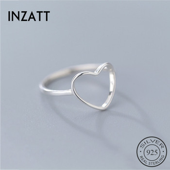 INZATT Genuine 925 Sterling Silver Minimalist Ring For Women Wedding Hollow Heart Fashion jewelry Cute Valentine's Day Gift