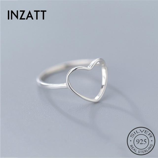 INZATT Genuine 925 Sterling Silver Minimalist Ring For Women Wedding Hollow Heart Fashion jewelry Cute Valentine's Day Gift