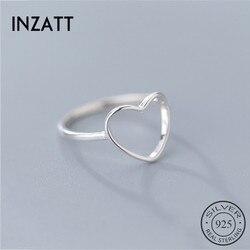 INZATT Hakiki 925 Ayar Gümüş Minimalist Yüzük Kadınlar Için Hollow Kalp moda takı Sevimli sevgililer Günü Hediye