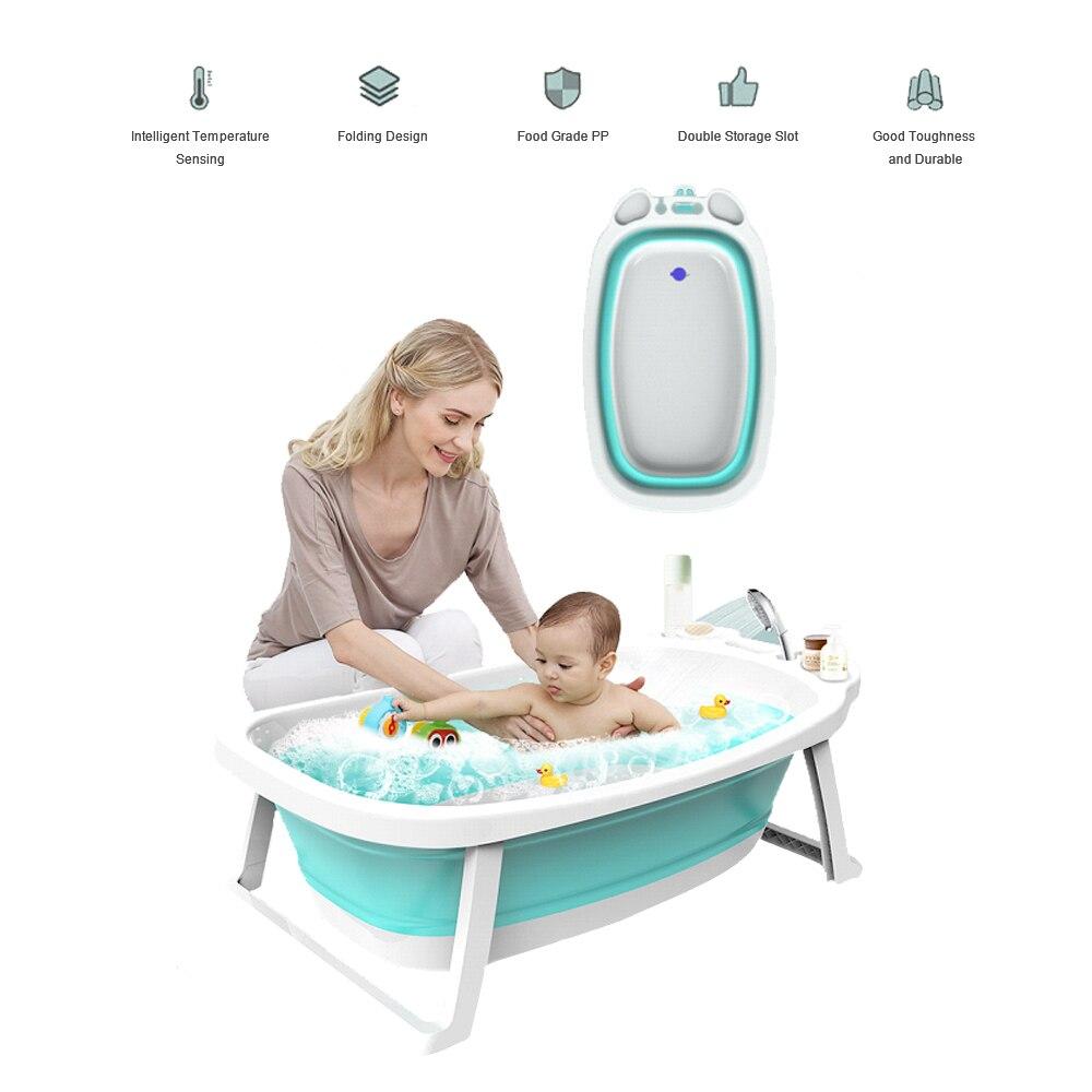 Baignoire bébé pliante grand épaississement infantile enfants enfants pliable baignoire bébé avec tapis de sécurité/Pad pour 0-8 ans - 3