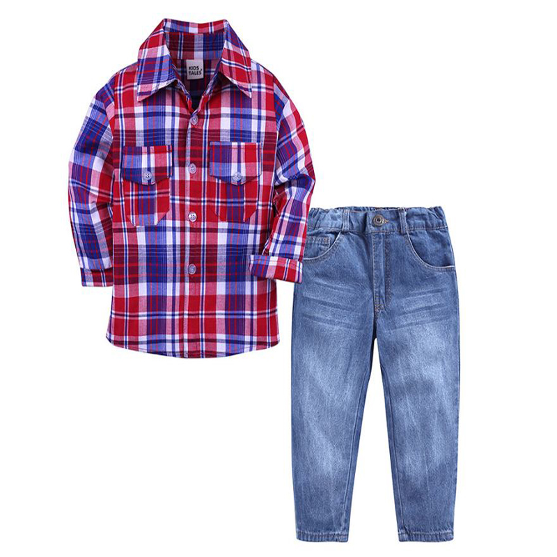 fashion 2-7Y Children clothes Long sleeve red blue plaid blouse+jeans 2 piece clothing Suits gentleman kids boy clothes