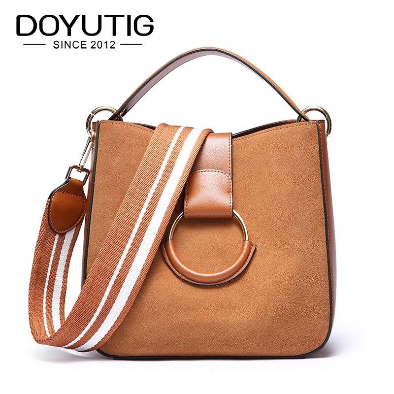DOYUTIG Brand European Design Genuine Leather Shoulder Bags For Lady Real Nubuck Leather Women Casual Handbags & Big Totes F623
