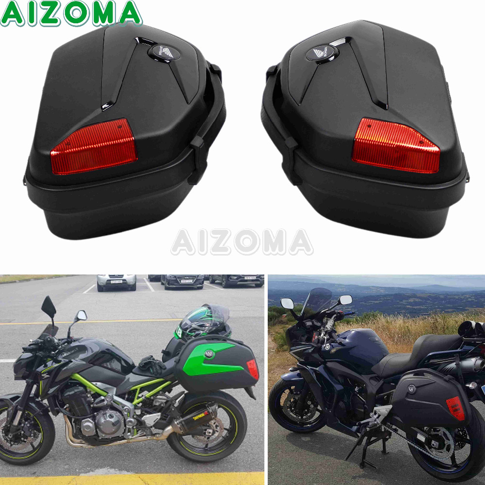 Pair Motorcycle Universal ABS Plastic Side Cases 20L Pannier Side Luggage Cargo Box Tail Case For Yamaha Honda BMW Suzuki GW250 black motorcycle 36l aluminum side box storage cases kit w mount bracket luaggage box universal for triumph bmw f800gs f800r abs