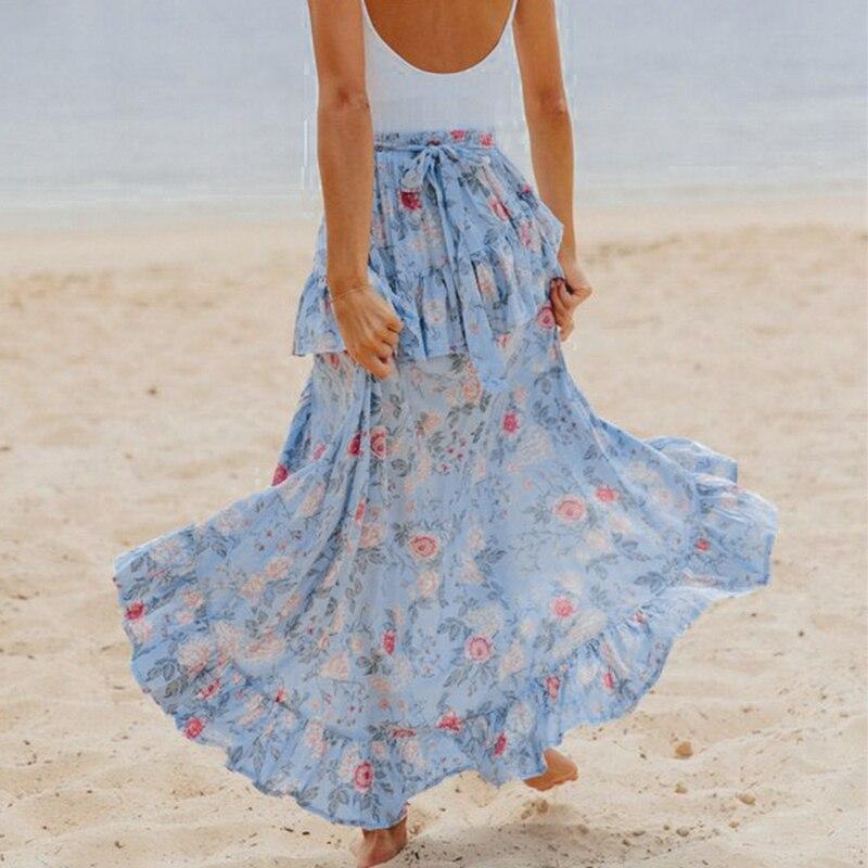 Conmoto Casual Blue Ruffle Long Skirt 2019 Summer Women Floral Print High Waist Lace Up Skirt Girl Holiday Beach Skirt