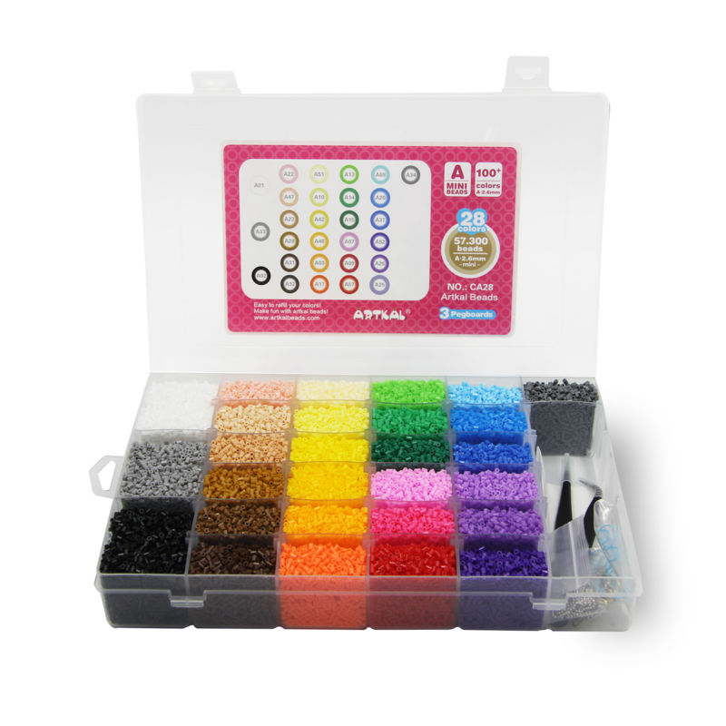 Artkal Beads 28 Color with Pegboards Accessories Box Set Perler Mini Beads Plastic EVA Educational Toys For Children CA28  eva 1 lot 2 pcs hama fuse perler beads 2 6mm big square pegboards connecting pegoard mini hama beads jigsaw puzzle handmade diy