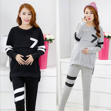 Maternal Abdomen Cotton Sweater Suit Pregnant Breast Feeding Clothes Clothes For Pregnant Women Pajamas