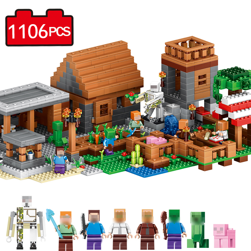 1106pcs Compatible Legos City building toys Minecraft Mini Figure Building Block My Village My World Brick Toy Gift for children 2016 best selling 8pcs spongebob minifigures kids toys mini figure building blocks children block toy gift compatible with lego