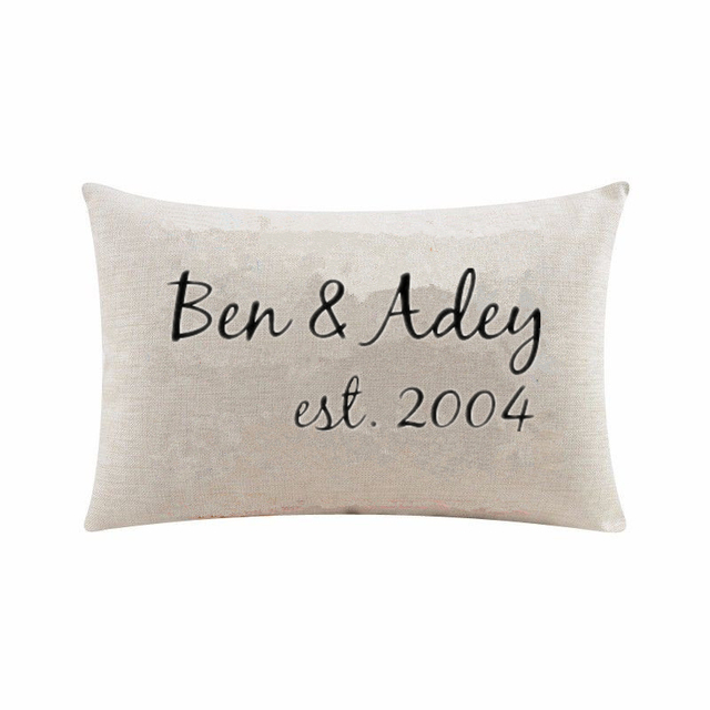 Personalized Custom Name Lumbar Cushion Cover Throw Pillow Case Personalised Wedding Anniversary Gifts Home Decor