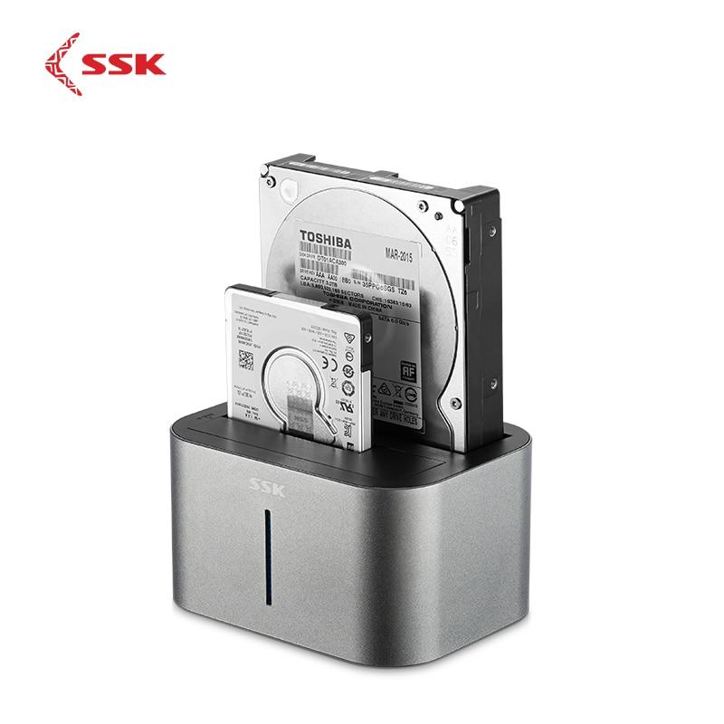 SSK 2-Bay SATA HDD Docking Station USB 3.0 To Adapter Hard Drive Enclosure Docking Station For 2.5 3.5 HDD SSD Disk Case DK100