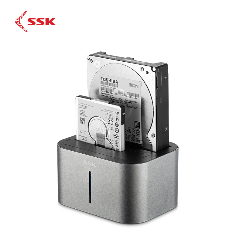 Station d'accueil SSK 2 baies SATA HDD USB 3.0 pour Adapter la Station d'accueil de boîtier de disque dur pour 2.5 3.5 HDD SSD boîtier de disque DK100