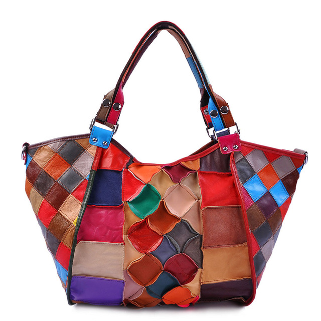 2014 female genuine leather sheepskin messenger bag girls patchwork bag women leather handbags