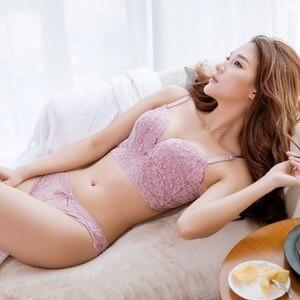 Image 2 - 5 completo breasted empurrar para cima conjuntos de sutiã de renda calcinha transparente sexy moda feminina ajustável Intimates meninas conjunto de sutiã de algodão