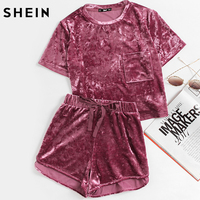 SHEIN Women Two Piece Outfits Purple Short Sleeve Pocket Front Crushed Velvet Top And Bow Shorts