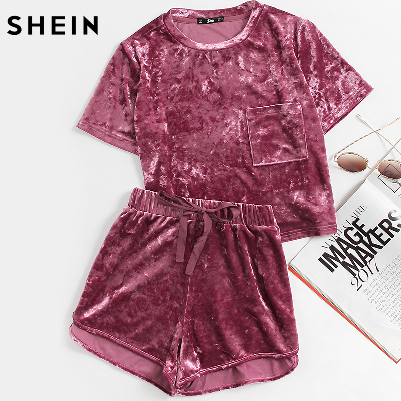 SHEIN Women Two Piece Outfits Purple Short Sleeve Pocket Front Crushed Velvet Top and Bow Shorts Set Women Sets Clothes