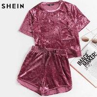 Shein mujeres traje de dos piezas manga corta púrpura bolsillo delantero aplastado terciopelo superior y arco Pantalones cortos set mujeres Sets ropa